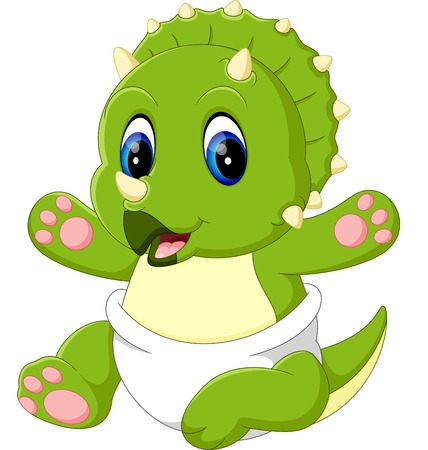 triceratops: illustration of cute baby Triceratops cartoon