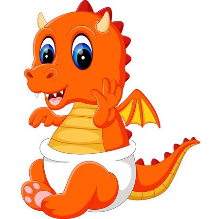 Illustrazione di carino bambino drago cartone animato Vettoriali