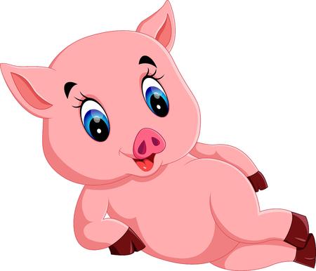 Historieta del cerdo lindo del bebé Ilustración de vector