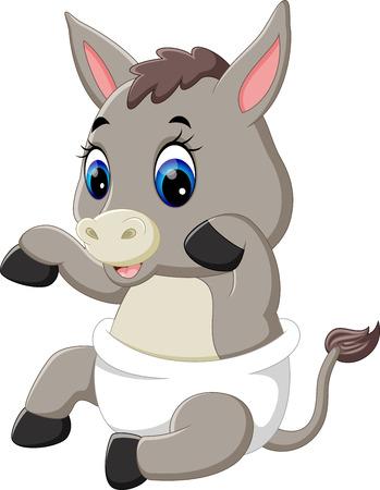 ilustración de dibujos animados burro lindo bebé