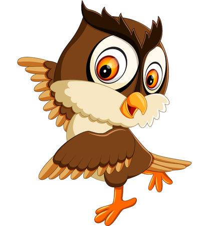illustration of cute owl cartoon