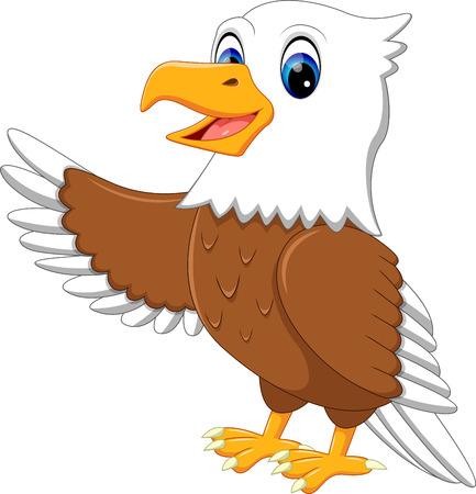 illustration of cute eagle cartoon Stock Photo
