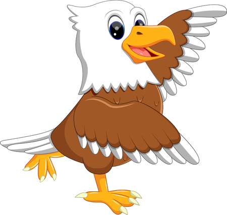 illustration of cute eagle cartoon