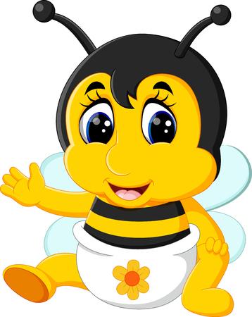 cute bee: illustration of cute bee cartoon Illustration