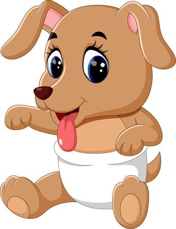 cartoon dog: illustration of Cute baby dog cartoon