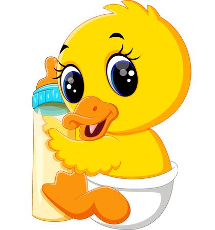 squeak: illustration of Cute baby duck cartoon