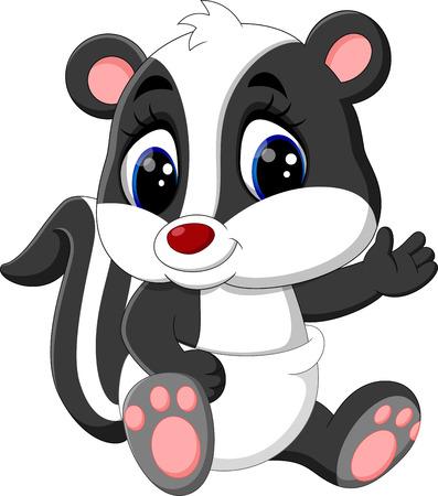 stinking: illustration of baby skunk cartoon Stock Photo
