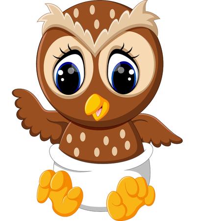 baby animals: illustration of cute owl cartoon