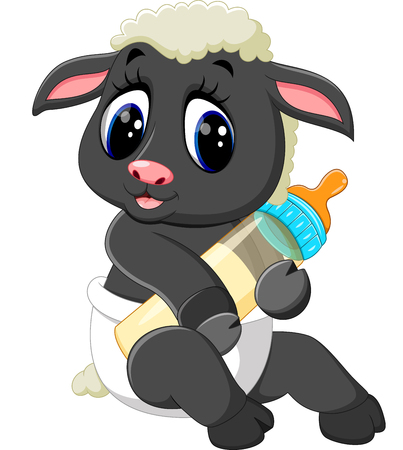 illustration of Cute cartoon sheep character Ilustração