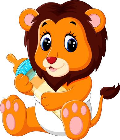 illustration of cute baby lion cartoon Vettoriali