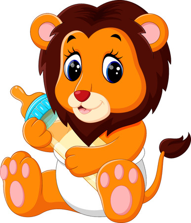 illustration of cute baby lion cartoon Illustration