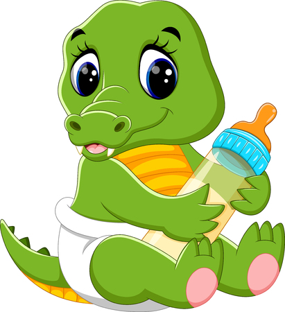 wave hello: illustration of cute baby crocodile cartoon