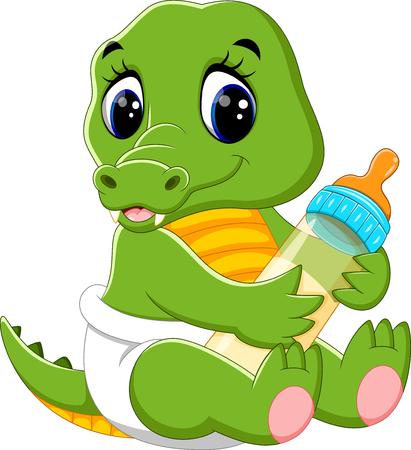 gente saludando: ilustraci�n de dibujos animados de cocodrilo beb� lindo