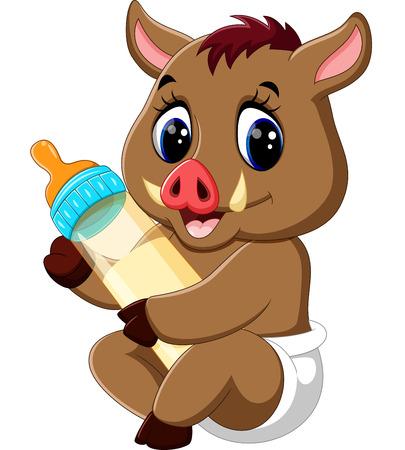 cute baby Wild boar cartoon