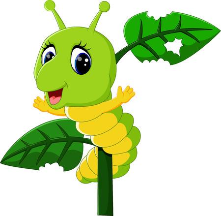 cartoon larva: Funny caterpillar runs on a tree branch Illustration