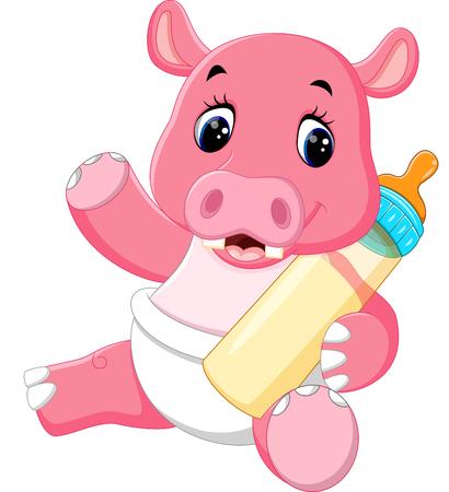 hipopotamo cartoon: ilustración de dibujos animados lindo del hipopótamo Vectores