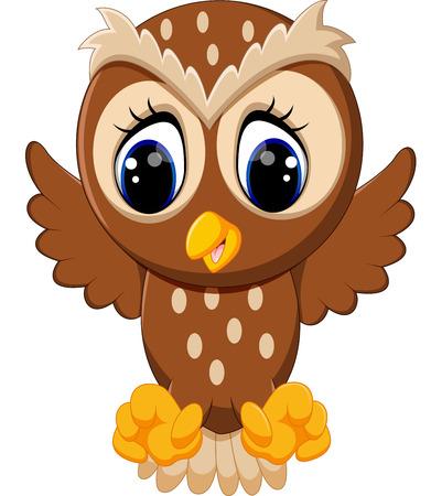 baby bottle: illustration of cute owl cartoon