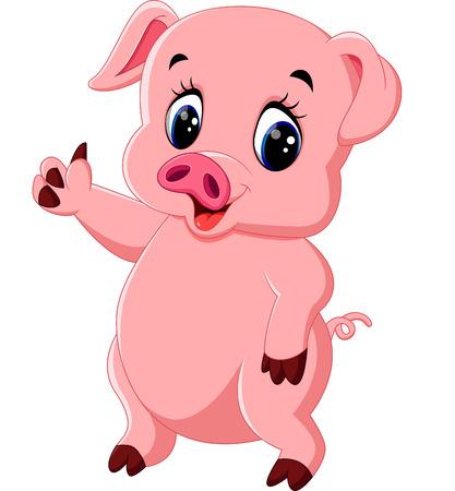 Historieta linda del cerdo Ilustración de vector