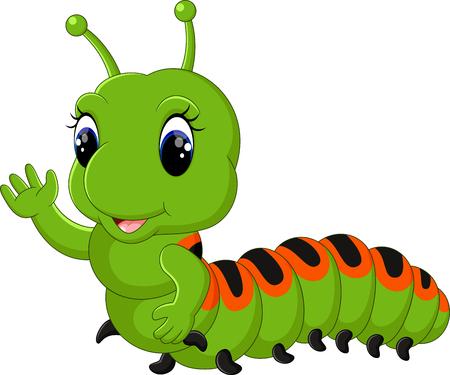grub: Funny caterpillar runs on a tree branch Illustration