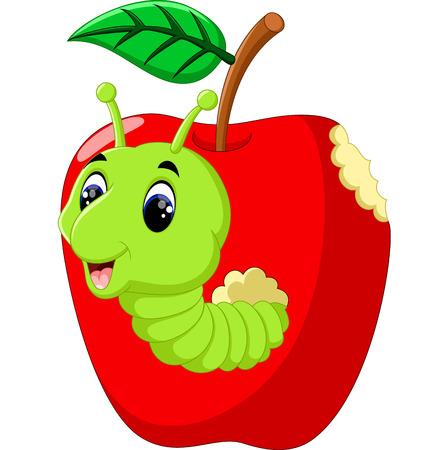 grub: Funny caterpillars on a apple