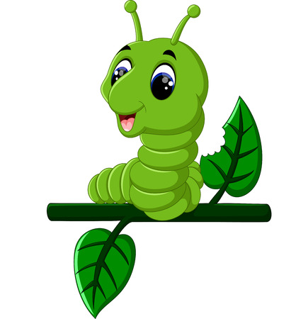 runs: Funny caterpillar runs on a tree branch Stock Photo