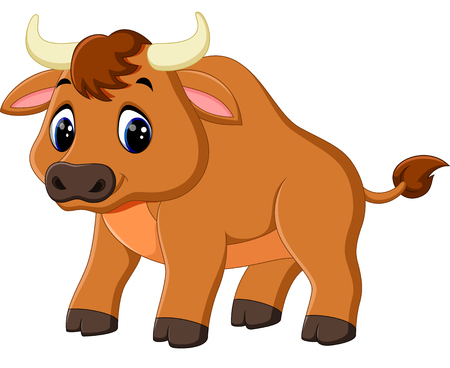 frenzied: illustration of cute baby bull cartoon