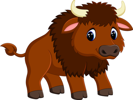 bison: Cute bison cartoon Stock Photo
