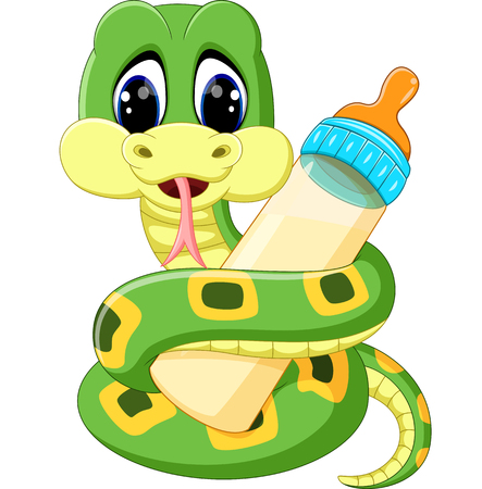 anaconda: Cute green snake cartoon