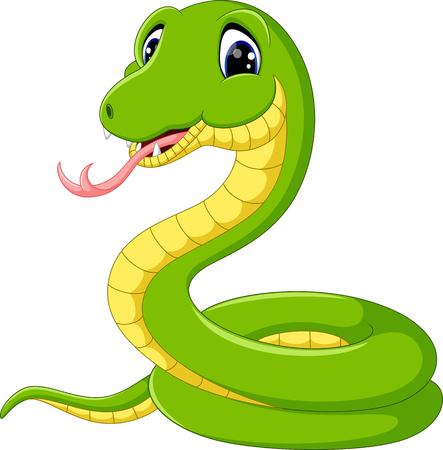 de dibujos animados de la serpiente verde linda Ilustración de vector