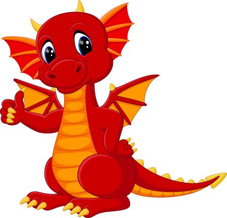 Mignon dragon cartoon Banque d'images - 58514378