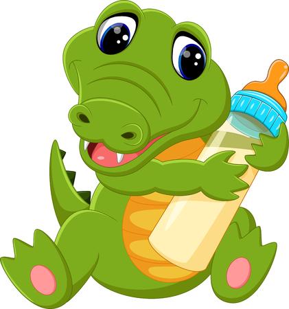 cute crocodile cartoon 일러스트