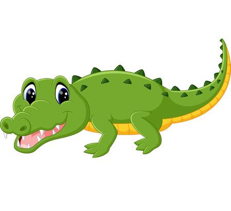 timid: cute crocodile cartoon Illustration