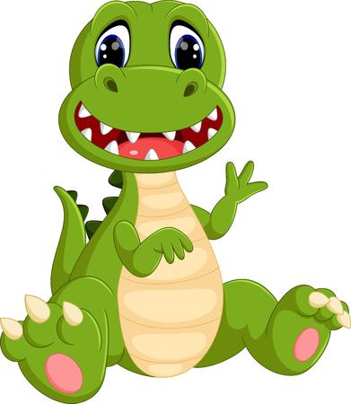 bebe sentado: dinosaurios lindos de la historieta Vectores