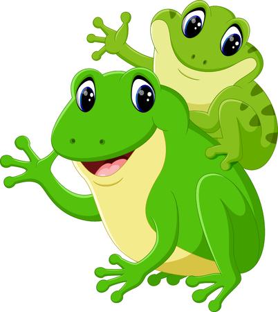 croaking: cute frog cartoon Stock Photo