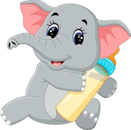 baby sitting: Cute elephant cartoon Illustration