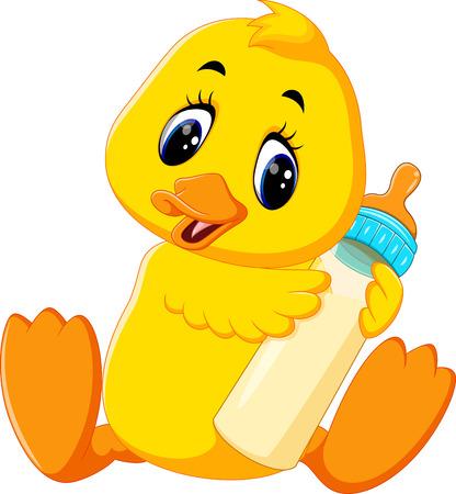 squeak: Cute baby duck cartoon Illustration
