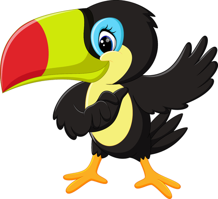 toucan: Cartoon happy bird toucan