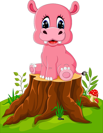 tree stump: Cartoon cute baby hippo on tree stump