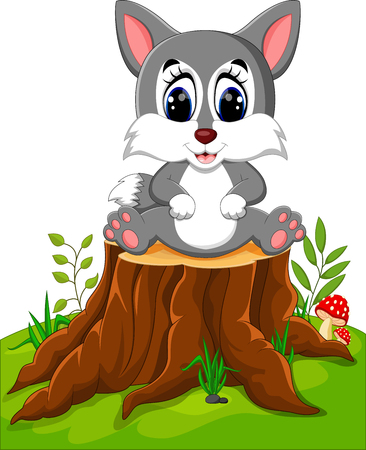 Cartoon wolf sitting on tree stump Illustration