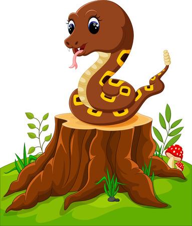 poison fang: Cartoon funny snake on tree stump