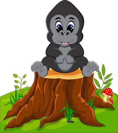 tree stump: Cute baby gorilla sitting on tree stump