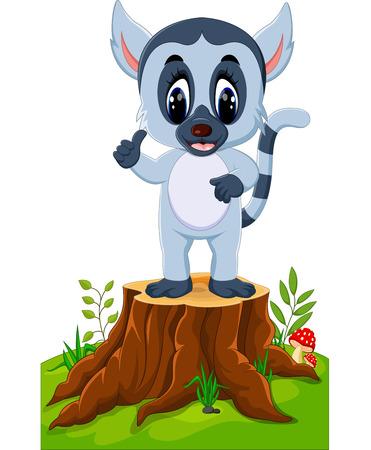 specie: Cute baby lemur presenting on tree stump