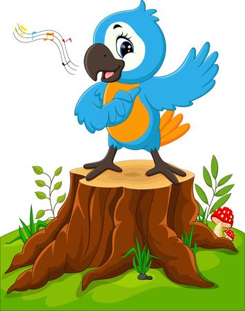 cartoon parrot: Cartoon parrot singing