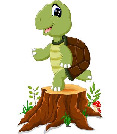 tree stump: Cartoon turtle posing on tree stump