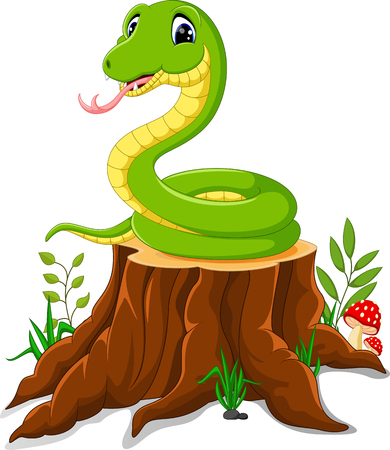 grass snake: Cartoon funny snake on tree stump