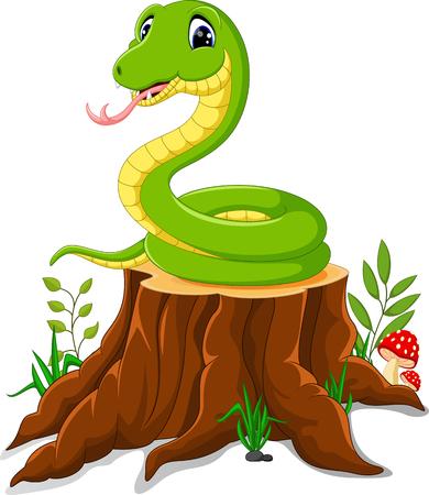 serpiente caricatura: serpiente de divertidos dibujos animados en tocón de árbol
