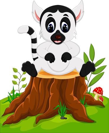 specie: Cute baby lemur sitting on tree stump Stock Photo