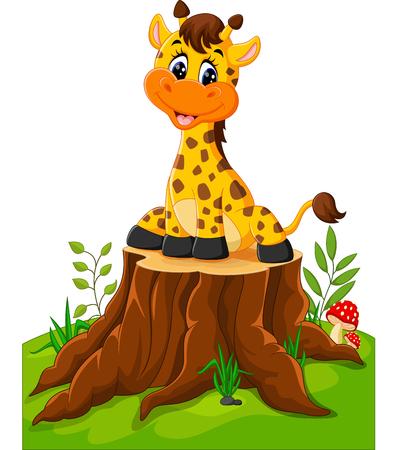 Cute Baby Giraffe sitzen auf Baumstumpf Standard-Bild - 58990385