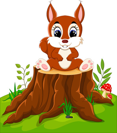 downy: Cartoon cute baby squirrel on tree stump