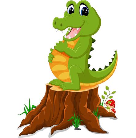 timid: Cartoon crocodile  posing on tree stump Stock Photo